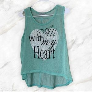 Charlotte Russe With All My Heart Hi-low Tank Top